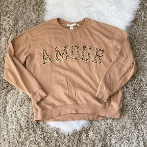 🤘🏼H&M amour animal print word sweatshirt crew